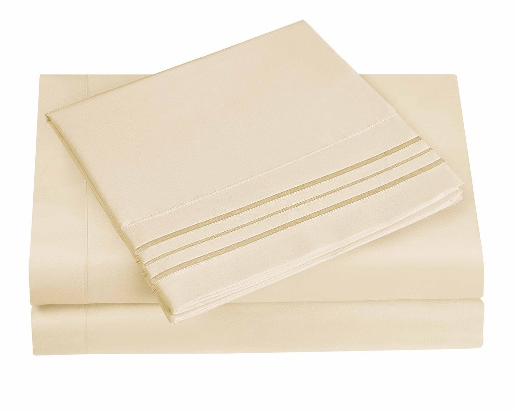 4 Pieces Bed Sheet Sets - 3 Line Pristine Ivory, King