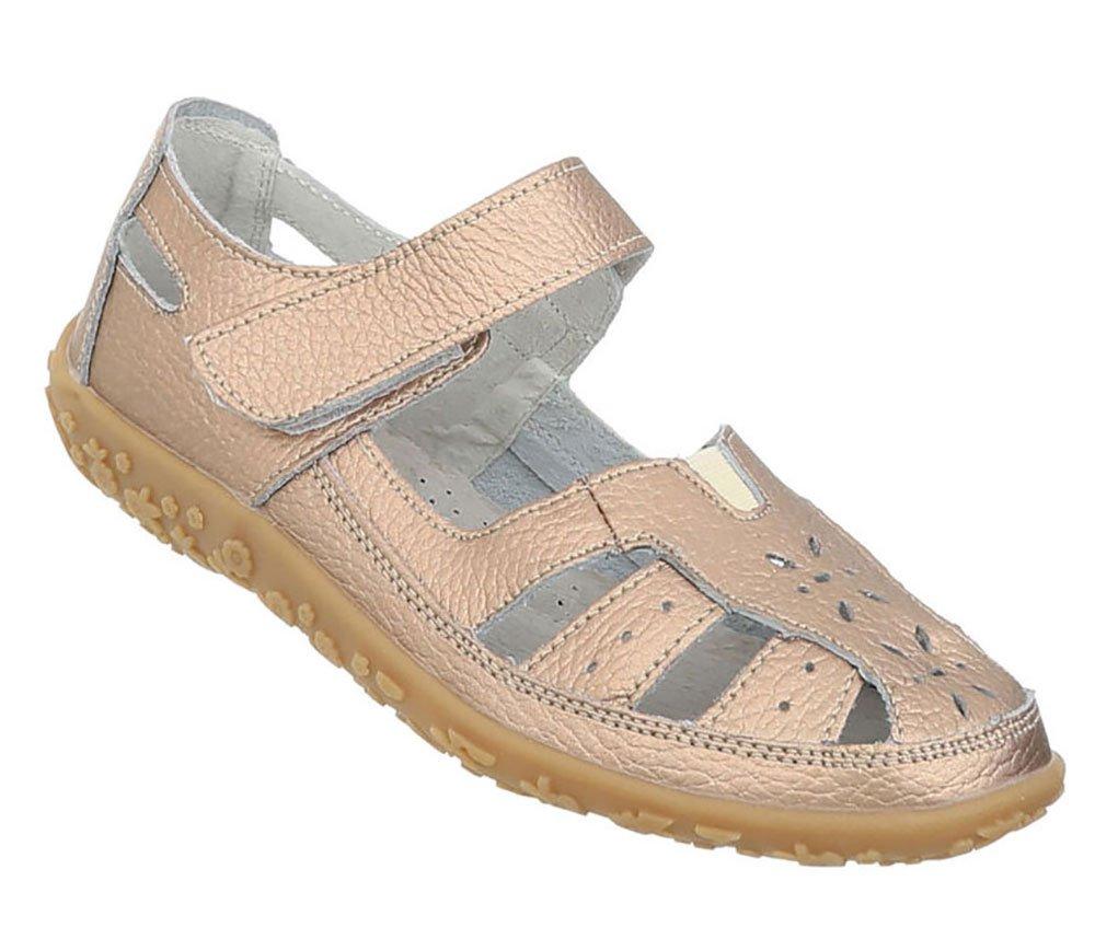 Damen Schuhe Sandalen Leder Klettverschluszlig;42 EU|Gold