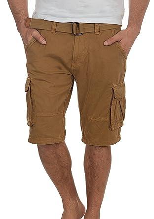 4bcfa3c356eac Indicode Hamilton Herren Cargo Shorts Bermuda Kurze Hose Mit Gürtel Aus  100% Baumwolle Regular Fit
