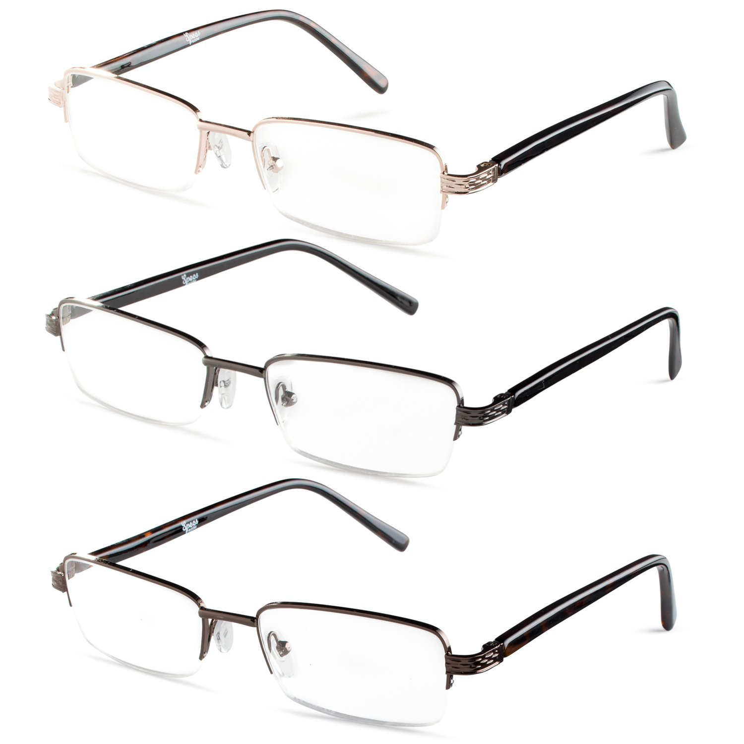 5fd3087ca0 Amazon.com  Half Rimmed Rectangular Reading Glasses For Mens - Free  Microfiber Cleaning Pouch +1.00 Value 3 Pack  Clothing