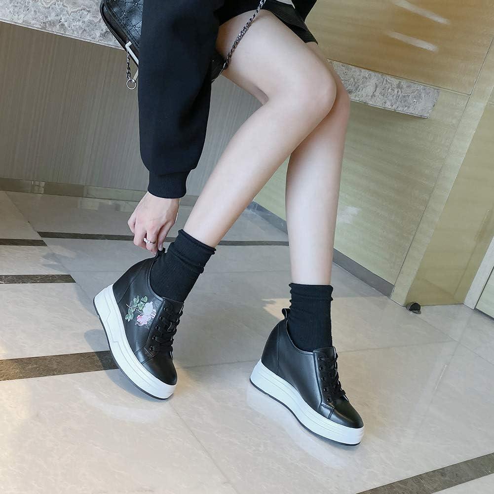 Scarpe con Zeppa Stringate Donna, MWOOOK-2022 Serie Semplici Punta Tonda Scarpe Moda Loafers Casuale Scarpe Sportive Black