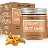 Turmeric Face Mask,Clay Facial Mask,Blackhead Remover Mask,Skin Brightening Mask with Turmeric and Bentonite Clay…