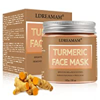 Turmeric Face Mask,Clay Facial Mask,Blackhead Remover Mask,Skin Brightening Mask with Turmeric and Bentonite Clay,Moisturizing Facial Exfoliant for Dull Dry Skin Care