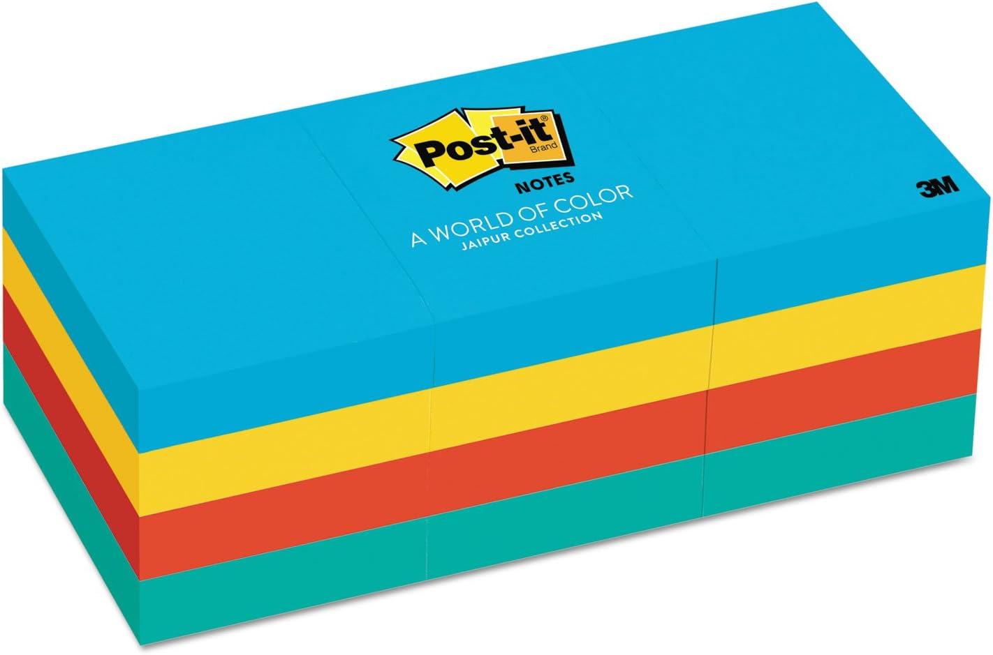 Post-it Notes Original Pads in Jaipur Colors 1.5 x 2 12 Pads//Pack