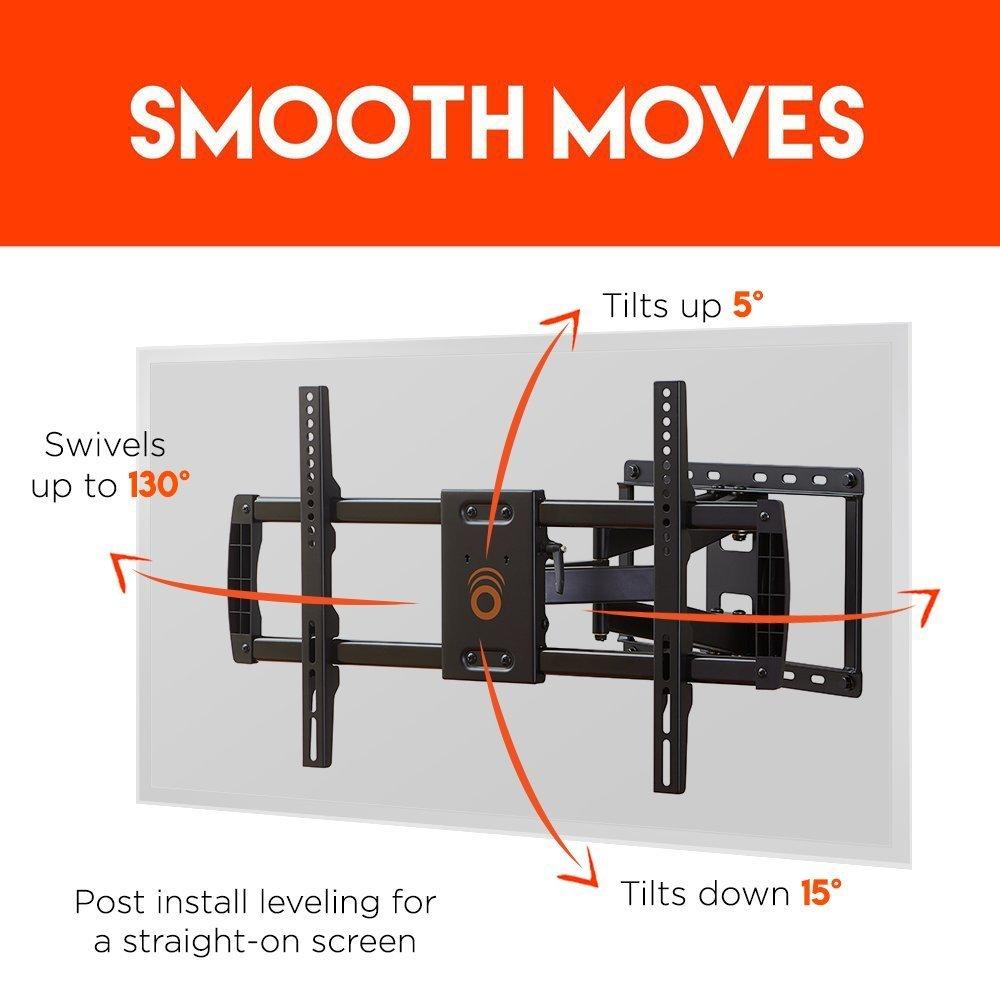 amazon com echogear full motion articulating tv wall mount