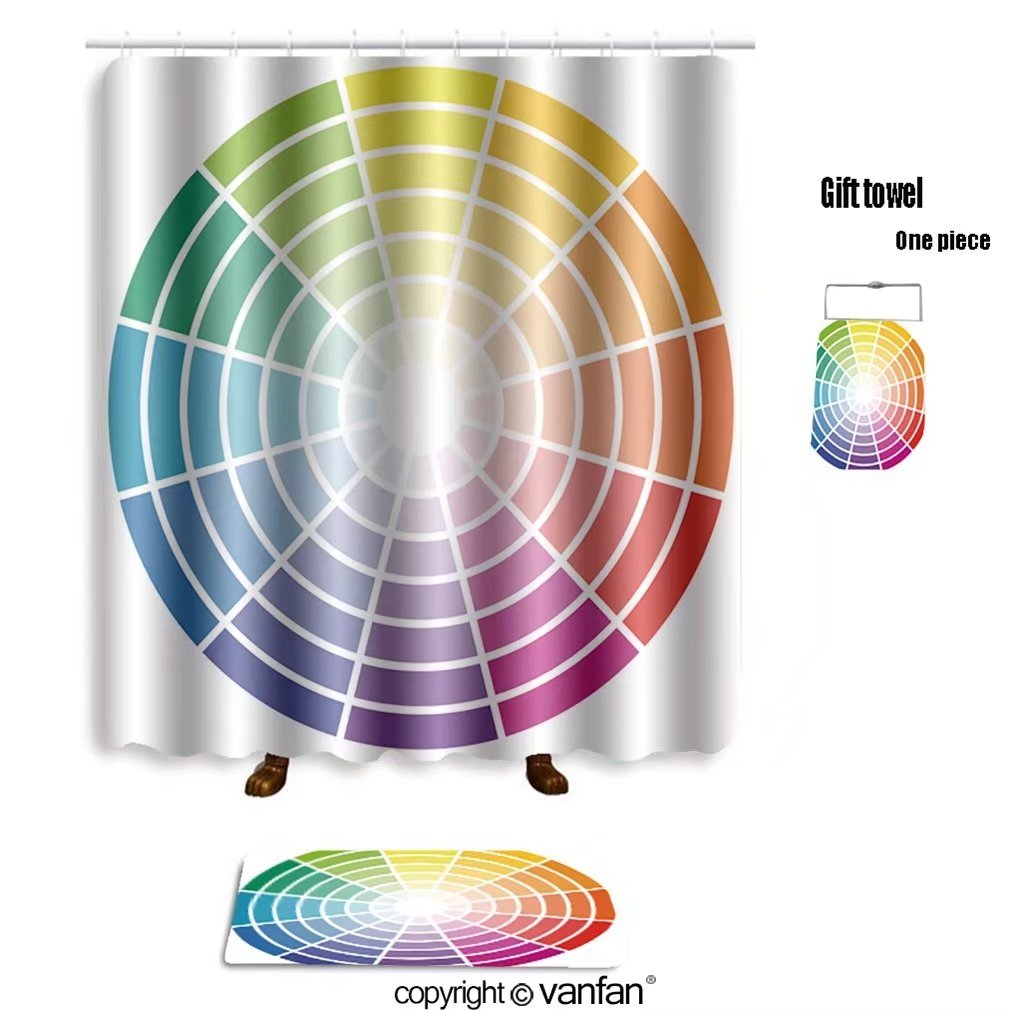 vanfan bath sets with Polyester rugs and shower curtain illustration of printing color wheel with dif shower curtains sets bathroom 72 x 92 inches&31.5 x 19.7 inches(Free 1 towel and 12 hooks) 50%OFF