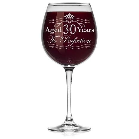 Amazon.com: Fancy vino (cristal), diseño de cumpleaños 30 ...