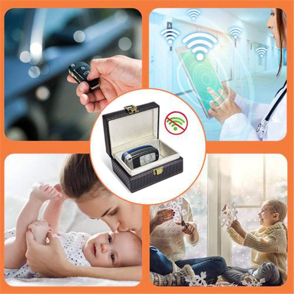 Bo/îte de S/écurit/é Clef de Voiture Sans Clef Coffret Cage de Faraday Protection Cl/é Sans Contact Keyless Go Bo/îte Antivol en PU Bloque Signal RFID et NFC de Porte-cl/és Fob