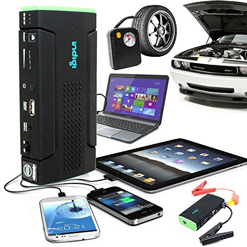 Indigi Multi-Function Vehicle Jump Starter Tire Air Compressor Battery Power Bank Charger For Smartphone iPhone Tablet iPad Laptop w/ Durable Hard Case Bundled