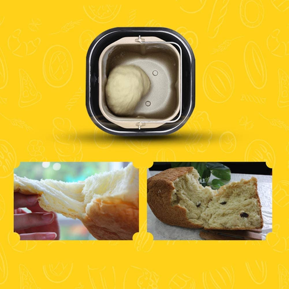 Appointment Time 450W Compact Fast Breadmaker Automatic Fruiting QWEASD Bread Machine Three Burnt Colors LCD Screen Fully Automatic Touch Suitable for 4-5 People 18 Menus