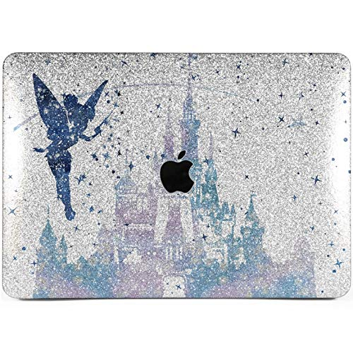 Lex Altern Glitter MacBook Case Pro 15 inch Air 13 12 11 2018 Disney Tinkerbell Mac Retina 2017 A1990 Fairy Cute Silver Cover Hard Glossy Blue Apple 2016 Bling Castle Protective Shell Girl Gift Women -