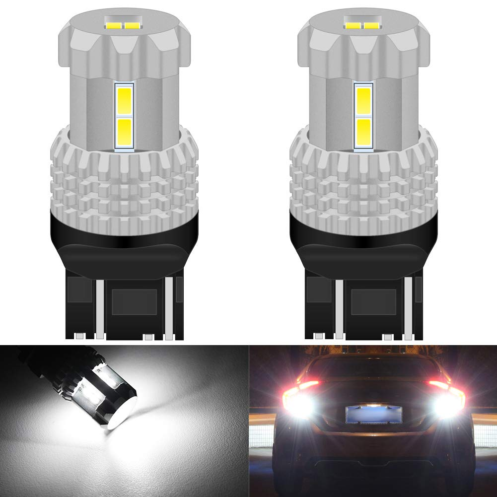 Brake Light or DRL KaTur 7443 7440 7441 W21W T20 LED Bulbs High Power 12pcs 3020SMD Chipsets Extremely Bright 2800 Lumens Used for Backup-Light Tail Light Xenon White Pack of 2