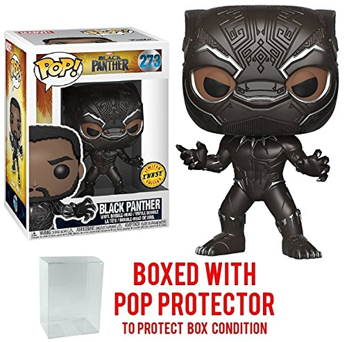 Funko Pop! Marvel: Black Panther - Masked Black Panther Limited Edition CHASE variant Vinyl Figure (Bundled with Pop BOX PROTECTOR CASE) (Toy Edition Black Limited Box)