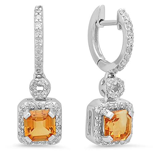 14K White Gold Asscher Citrine & Round Cut White Diamond Ladies Halo Style Dangling Earrings