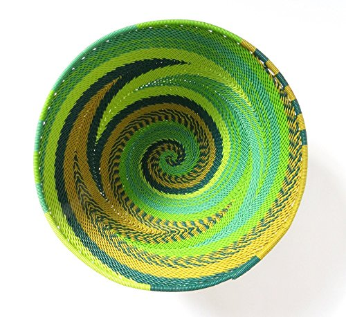 African Zulu woven telephone wire bowl – Medium round - Green - Gift from Africa