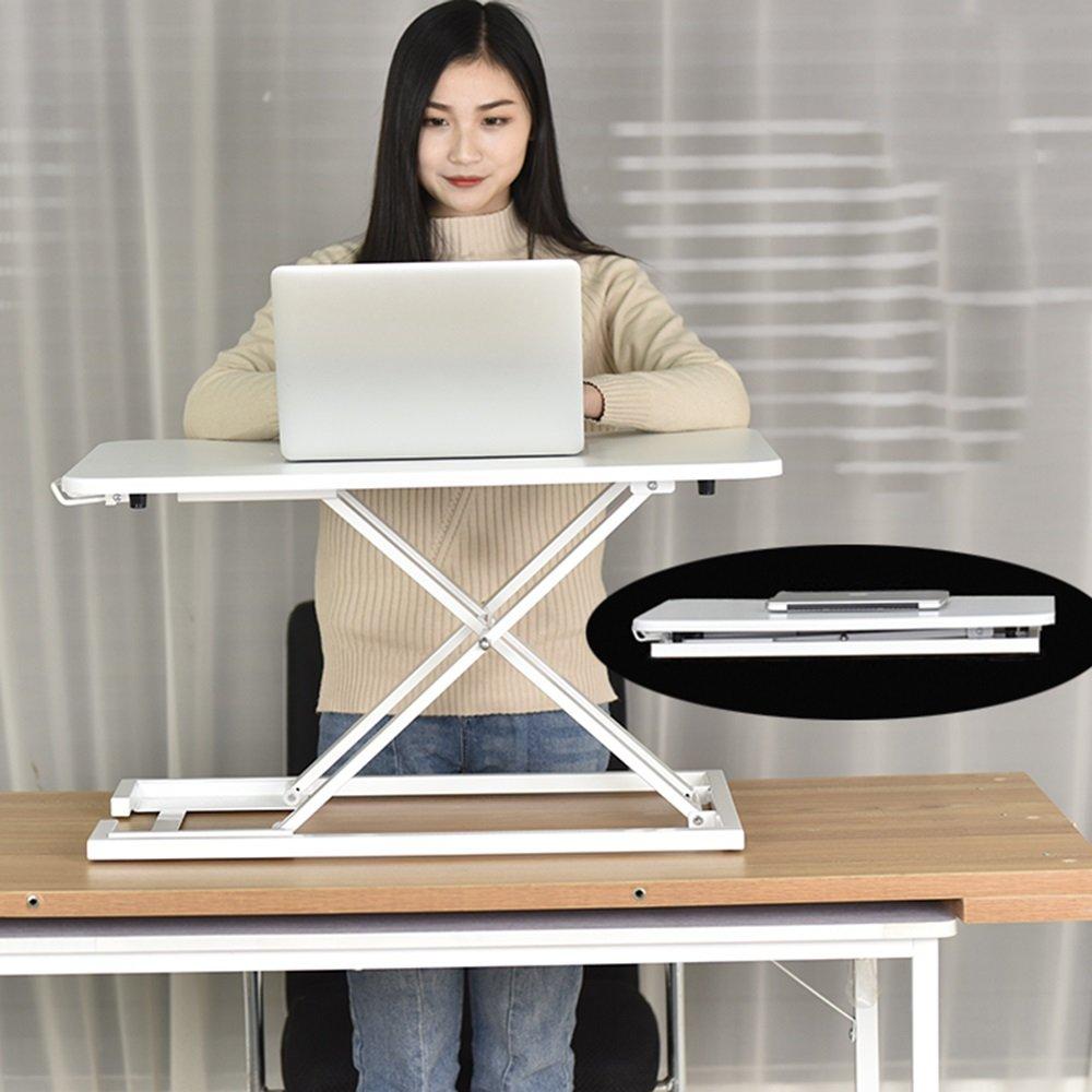 XIAOLIN スタンドアップオフィスコンピュータデスク折りたたみテーブルリフト可能なノートブックスタンドブラケットワークステーションスタンドオフィステーブルモバイルデスクシンプルでモダンなスタンドアップデスクレイジーデスクリリーススパインスタンド快適なコンピュータデスクスモールワークベンチ73 * 48 * 40cm 2色 (色 : 白) B07F376DF3白