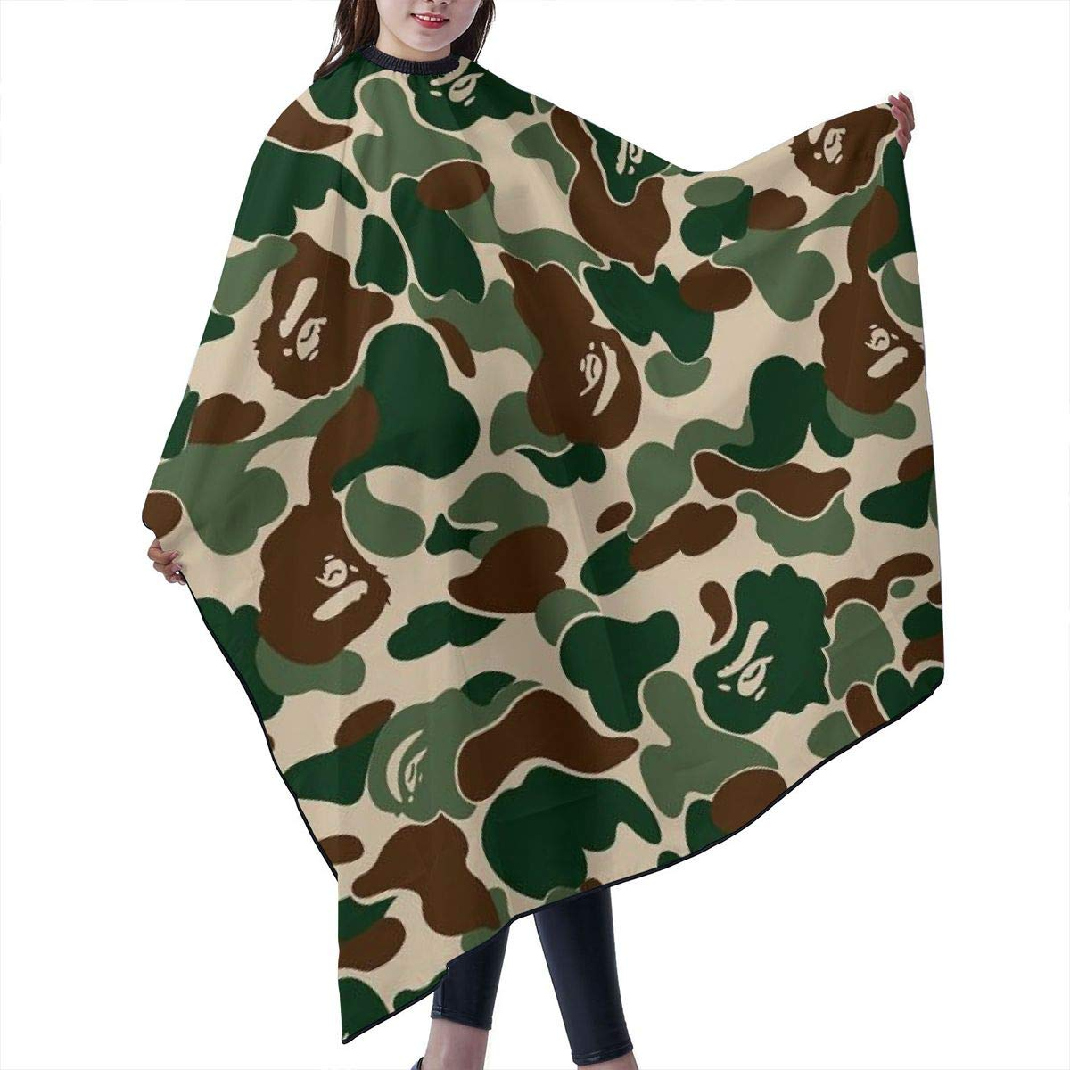 STWINW Professional Barber Supplies Tool Green camouflage Pattern Cape Cover Cloak Hair Dyed Hair Waterproof Cloth Anti-Static Hairdressing Haircut Apron Hair Dressing Gown Cape by STWINW