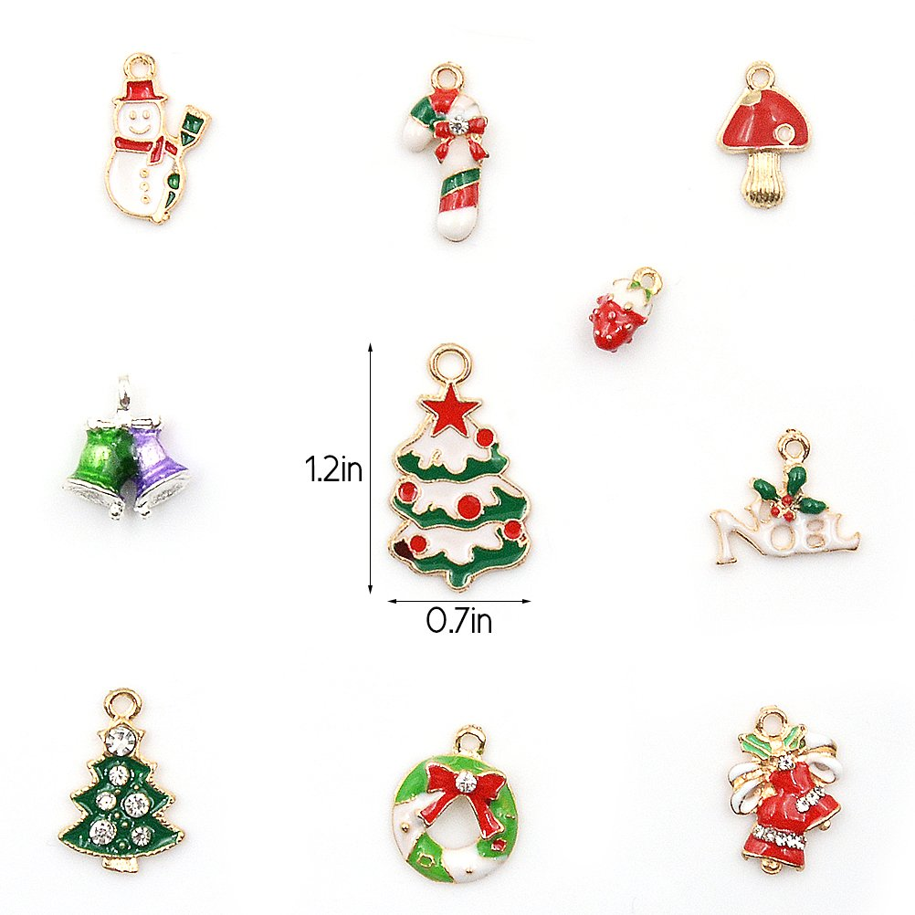 Amazon.com: Enamel Charm Pendants Mixed Christmas Themed Silver ...