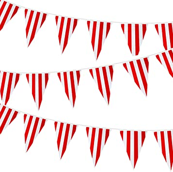 Red White Circus Stripes Birthday Children/'s Birthday Party Bunting Banner