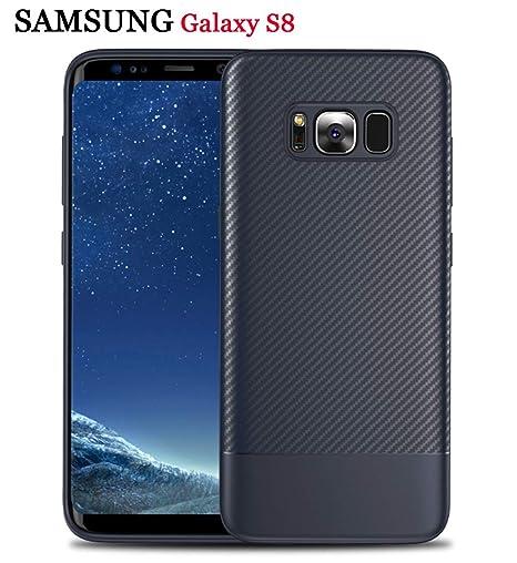 4e92d43edca ZSCHAO Funda Samsung Galaxy S8 Fibra de Carbono Slim Fina Silicona TPU  antigolpes +Cristal Templado