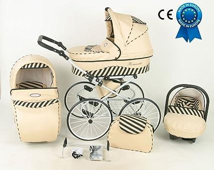 Cochecito 3 en 1 Retro con cochecito grandes ruedas Nacelle y asiento Cosy Auto + paraguas