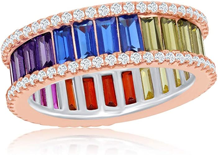 Multi-Colour Sapphire /& CZ Ring Rose Gold Plate 925 Sterling Silver