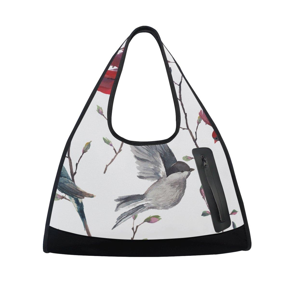 AHOMY Canvas Sports Gym Bag Branches Flowers Bird Travel Shoulder Bag