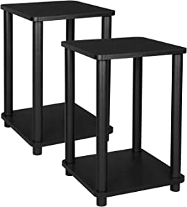 VASAGLE 2-Tier End Table, Set of 2, Nightstand, Side Table with Storage Shelf, Stable, for Living Room, Bedroom, Office, 13.4 x 13.4 x 19.7 Inches, Black ULET181B01