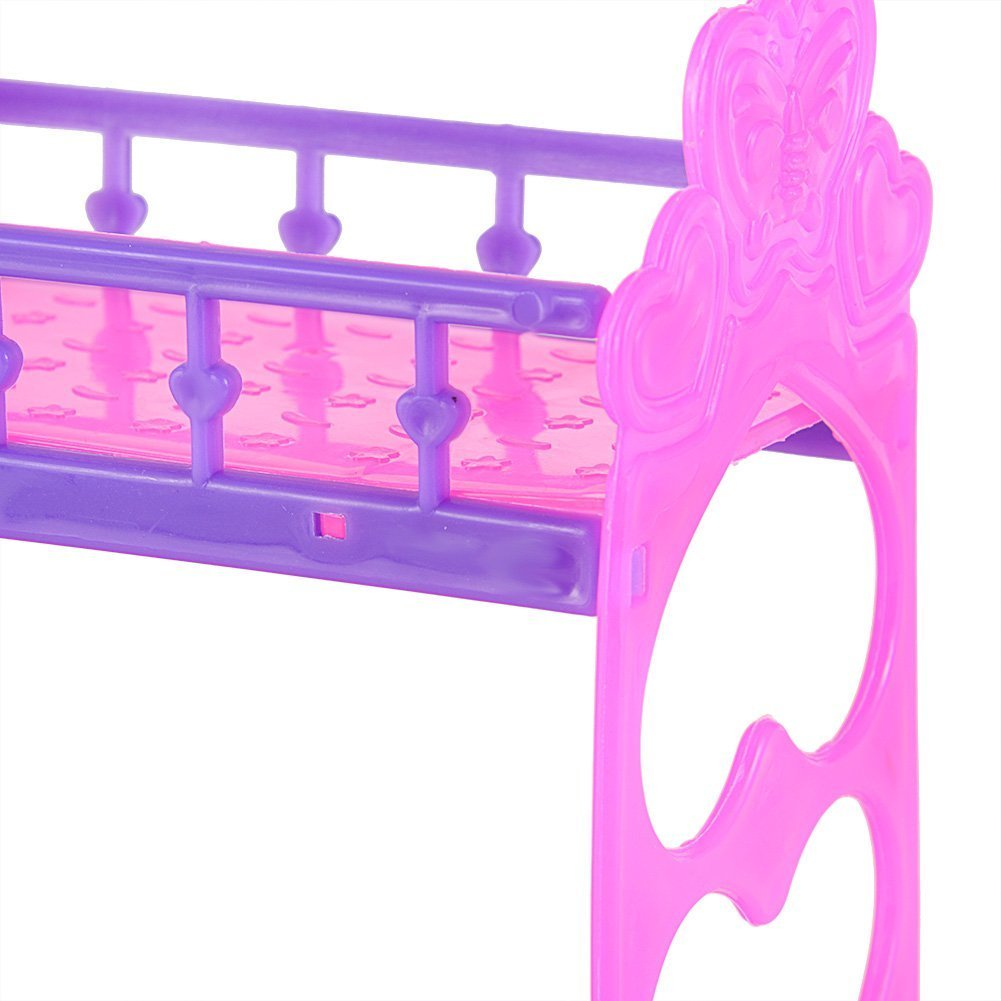 Lanlan 1Pcs Cute 3.5 Inch Plastic Double Bed Frame For Kelly Barbie ...