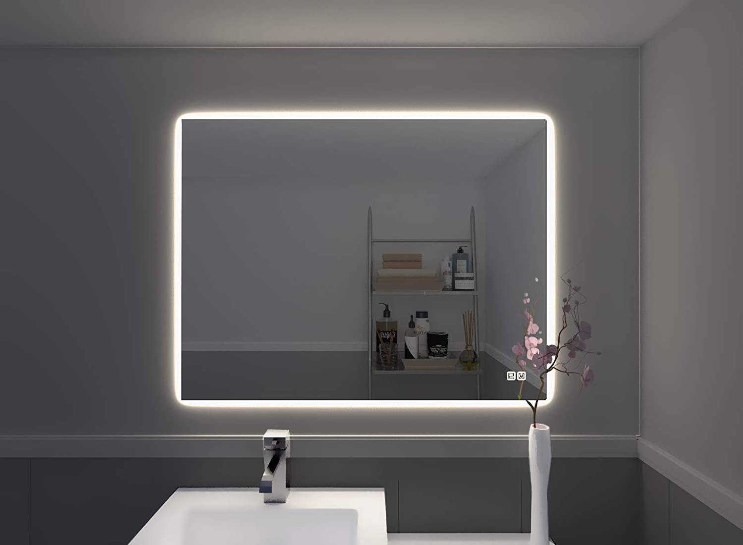 Amazon Com Naomi Home Bathroom Mirror With Lights Led Vanity Mirror Wall Mounted Anti Fog Touch Switch Silver 31 X 23 Beauty