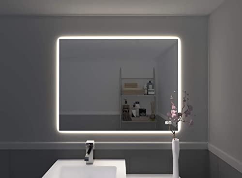 Naomi Home Bathroom Mirror with Lights LED Vanity Mirror Wall Mounted, Anti Fog,Touch Switch Silver 35 x 27