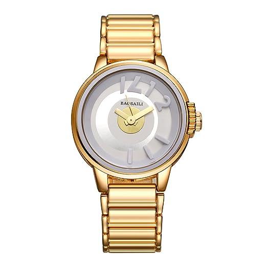 bsl1042 baosaili Metal Color Dorado Mujer Nuevo reloj de pulsera cuarzo de moda reloj de pulsera para mujer: Amazon.es: Relojes