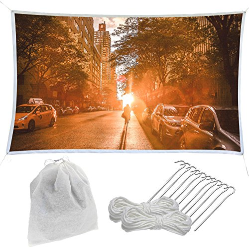 Holiday Styling Outdoor Projector Screen Kit - Large 126 inch Portable and Crease Free for Movie Cinema Camping Travel ()