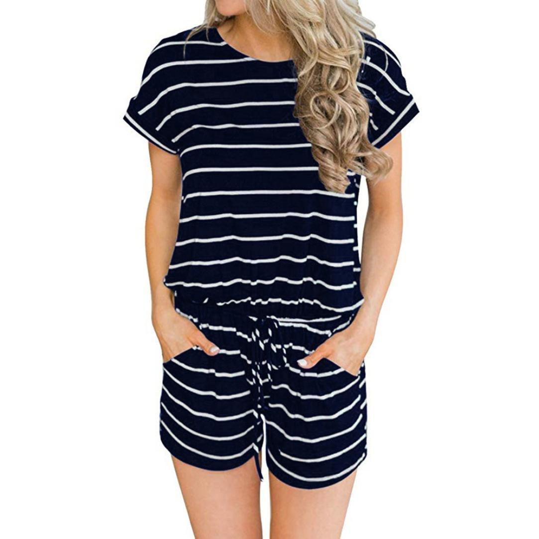 Women Striped Jumpsuit,Vanvler Ladies Wide Leg Short Pants |Casual Clubwear Summer Short Sleeve Jumpsuit (L, Black)