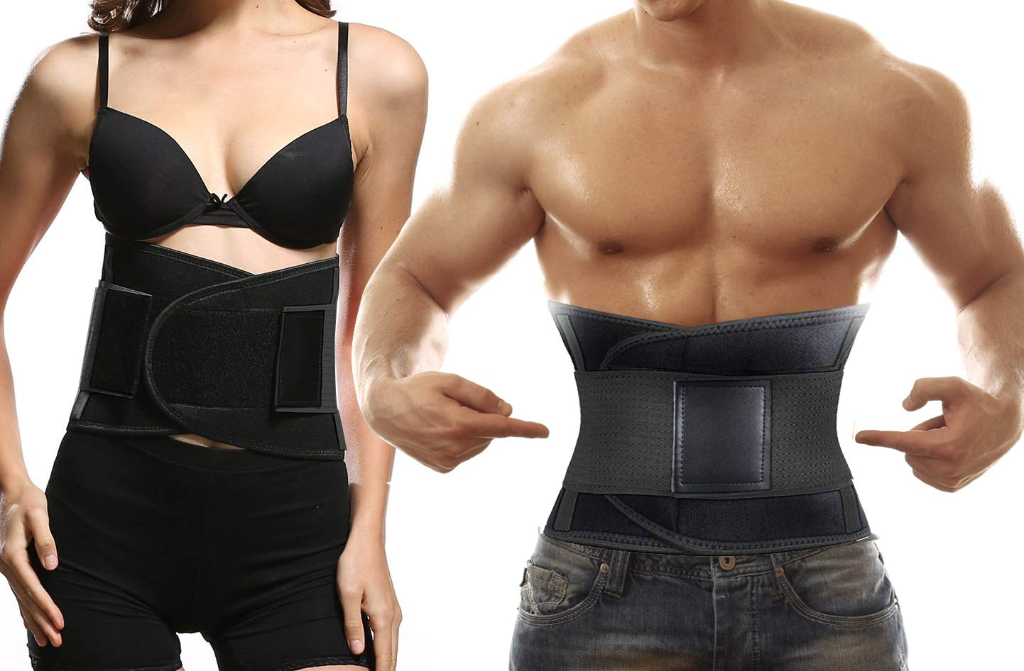 Sweat Belt Waist Trainer for Women & Men -Abdominal Elastic Waist Ab Cincher Trainer Trimmer, Neoprene Hourglass Slimming Body Shaper,Compression Band Workout,Adjustable Back Support (M)