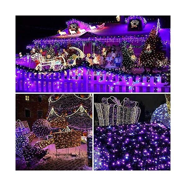 EPESL luci natalizie 22m 220 leds con 8 modalità di memoria end to end estensibile catene luminose esterni ed interni decorazione per giorno di natale alberi casa Halloween festa giardino - Viola 5 spesavip