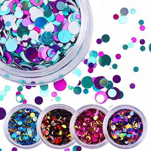 Round Nail Art (NICOLE DIARY 12 Boxes Nail Iridescent Flakies Sequins Colorful Round Glitter Paillette Manicure Nail Art Decoration)