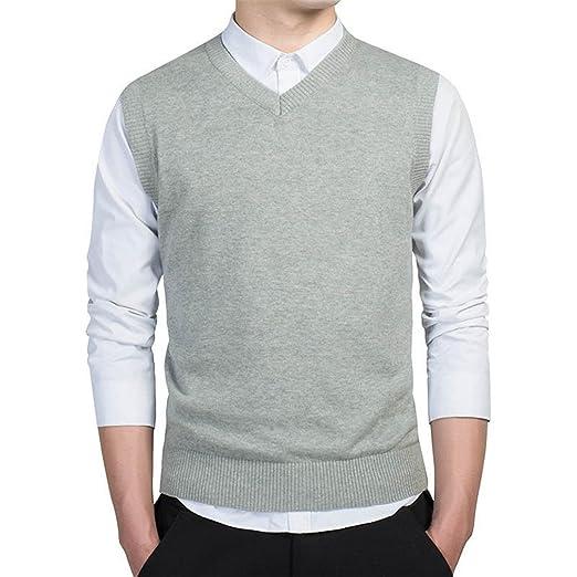 7961c64bda758 Prendas de Vestir suéter Hombres otoño V Cuello Chaleco Delgado suéteres  sin Mangas de los Hombres suéter cálido algodón Casual  Amazon.es  Ropa y  ...