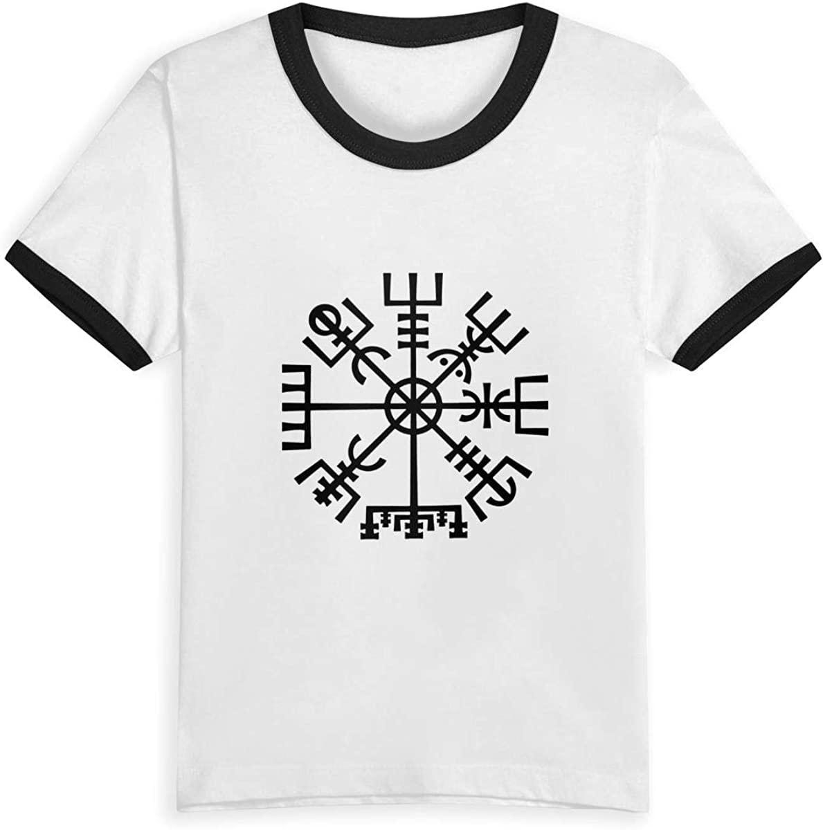 Queen Elena - Brújula negra vikinga, 2-6Y estampado de dibujos animados, camiseta de verano para niños y niñas, camisetas a la moda, ropa de algodón para niños pequeños, color de contraste Negro