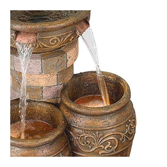 """John Timberland Tuscan Outdoor Floor Water Fountain with Light LED 31 1/2"""" High Cascading for Yard Garden Patio Deck Home - 31 1/2"""" high x 19"""" wide x 19"""" deep. Weighs 33 lbs. Tuscan stone traditional garden patio fountain from the John Timberland brand. Water flows from top basin into the two lower basins. Built-in LEDs in the two lower urns. - patio, outdoor-decor, fountains - 615oIQq0LrL. SS570  -"""