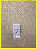 4 Pack Outlet Wall Plate With LED Night Lights - Night sensor - No Batteries or Wires - Installs In Seconds - (Duplex, White) Guidelight