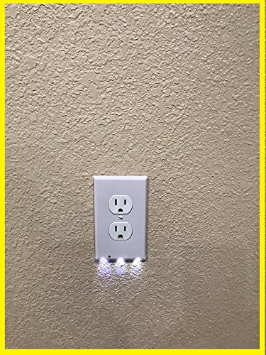 4 Pack Outlet Wall Plate With LED Night Lights - Night sensor - No Batteries or Wires - Installs In Seconds - (Duplex, White) Guidelight by Spectra Prime