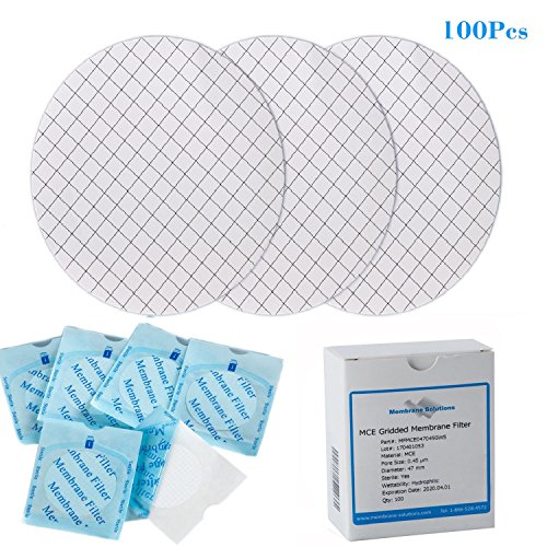 Set of 100 MCE Gridded Membrane Filter, Sterile, Hydrophilic, Diameter:47mm, Pore:0.22um (Filters Mce)