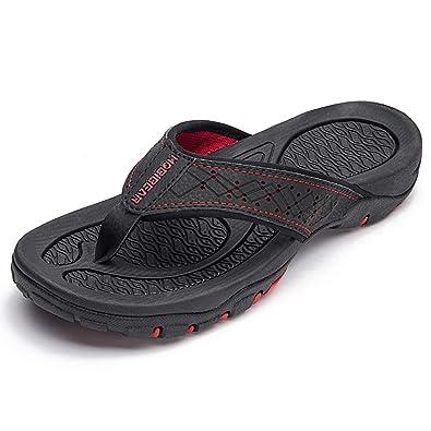 720e0c642 HOBIBEAR Mens Flip Flops Sport Thong Sandals Comfort for Outdoor Beach  Black-b