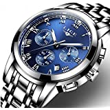 Watch,Mens Watches,Mens Luxury Fashion Stainless Steel Waterproof Chronograph Quartz Analog Wrist Watch