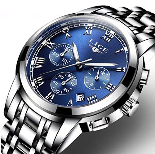 Watch%2CMens+Watches%2CMens+Luxury+Fashion+Stainless+Steel+Waterproof+Chronograph+Quartz+Analog+Wrist+Watch
