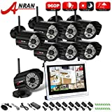 ANRAN 8CH 960P 1.3 MP Wireless Security System + 12 Inch NVR LCD Monitor + 8 Bullet Surveillance Camera with 48 IR Leds Night Vision Camera Smart Phone Remote Viewing NO Hard Drive