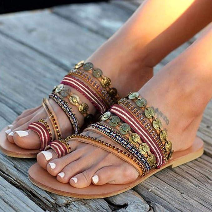 Covermason Zapatos sandalias planas mujer verano 2018, Mujer Zapatos de Moda Bohemia Zapatos Sandalias Pom-Pom: Amazon.es: Ropa y accesorios