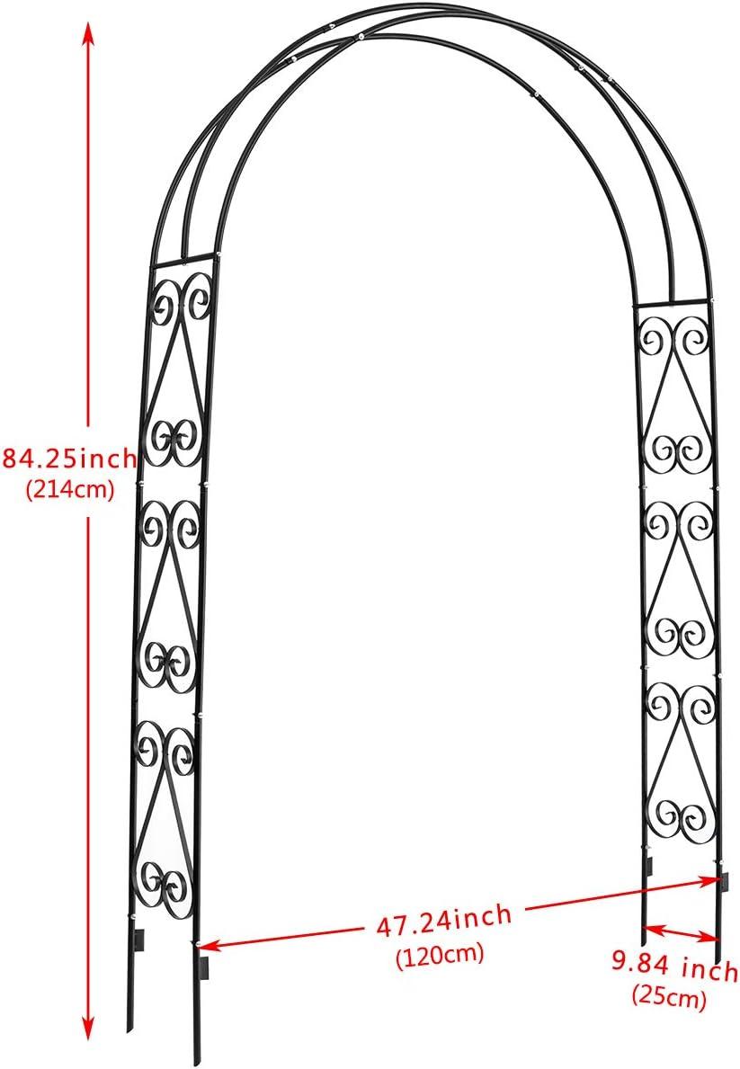 pelouse de Jardin Jardin Noir 7,6 cm de Large x 17,8 cm de Haut DOEWORKS Arche de Jardin pour diverses Plantes grimpantes Jardin ext/érieur