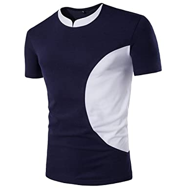 Sport Tee Shirts Designs | Cottory Men S Spell Color Stand Collar Design Sport T Shirts